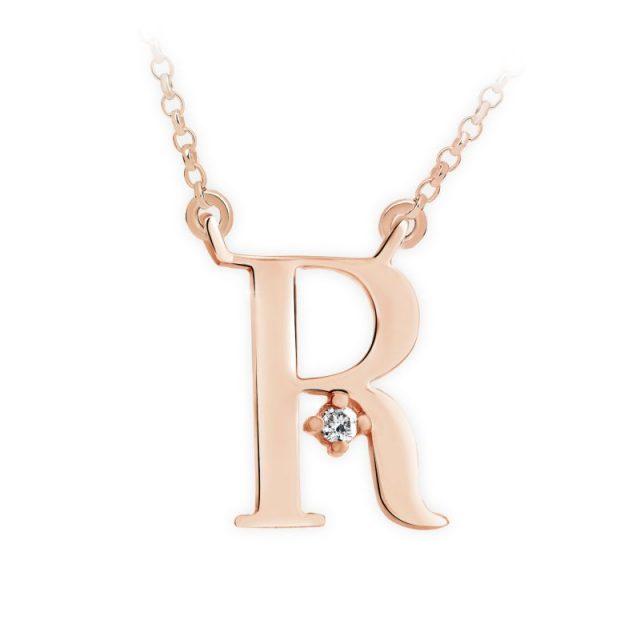 Přívěsek s řetízkem z růžového zlata s briliantem, DF 4523, písmeno R