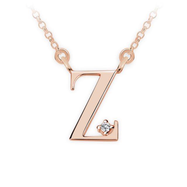 Přívěsek s řetízkem z růžového zlata a briliantem, DF 4531, písmeno Z