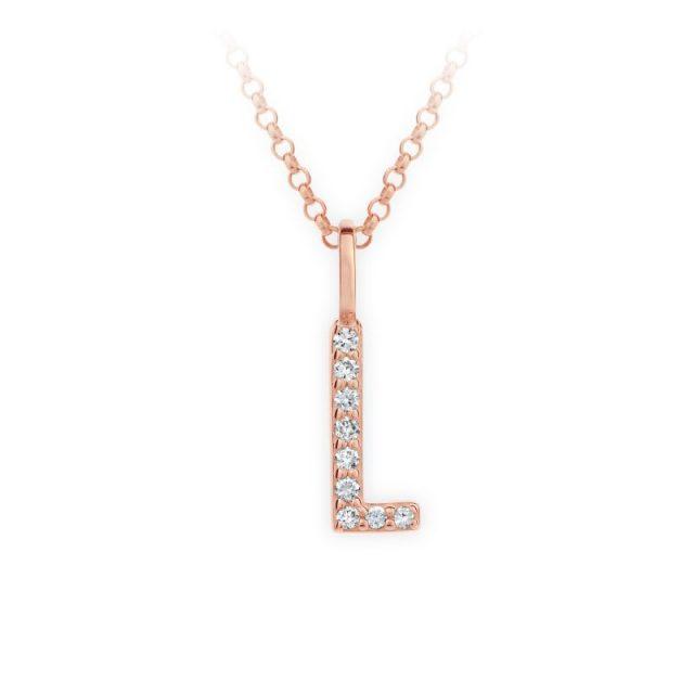 Přívěsek z růžového zlata s brilianty, DF 4745, písmeno L