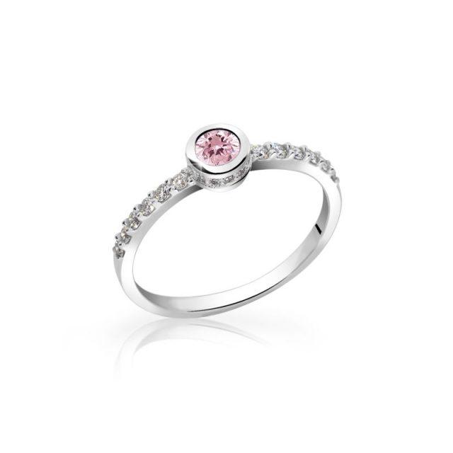 Zásnubní prsten z bílého zlata s růžovým safírem a diamanty, DF 2803