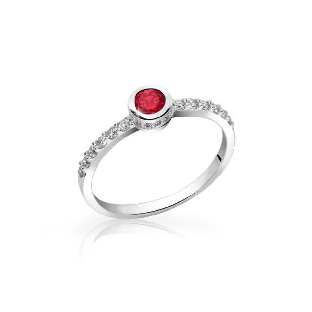 Zlatý zásnubní prsten z bílého zlata s rubínem a brilianty, Danfil DF 2803