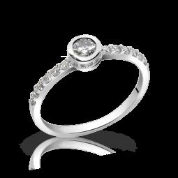 Zásnubní prsten z bílého zlata s briliantem, Danfil DF 2803