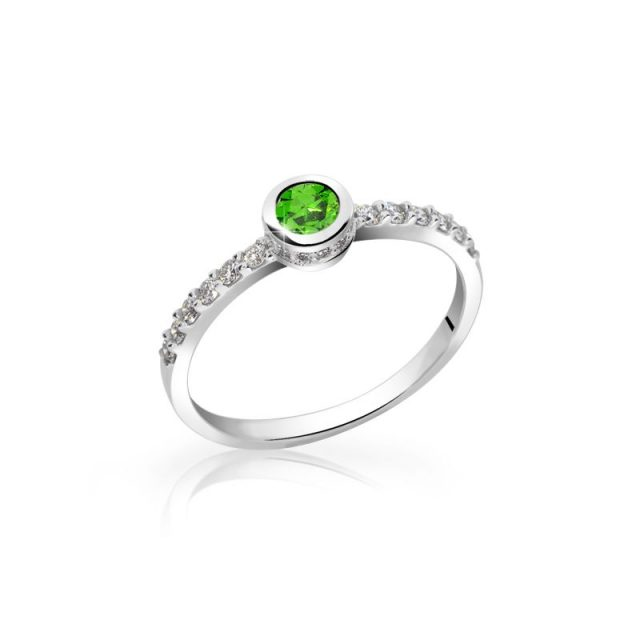 Zásnubní prsten z bílého zlata se smaragdem a diamanty, Danfil DF 2803