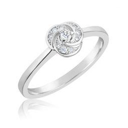 Zásnubní prsten z bílého zlata s diamanty, Danfil DF 3008B