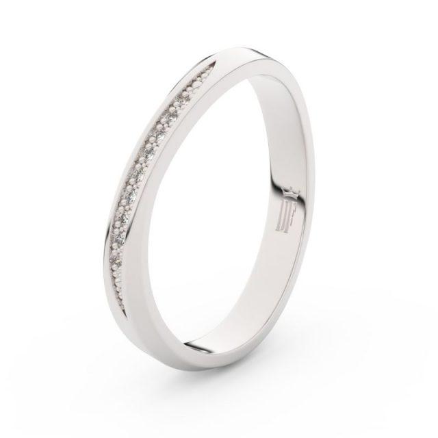 Dámský snubní prsten z bílého zlata s diamanty Danfil DF 3017