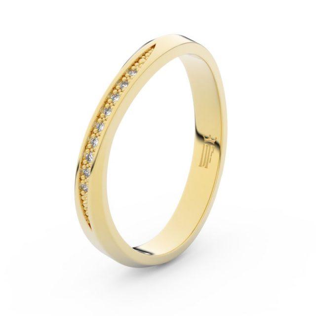Dámský snubní prsten ze žlutého zlata s diamanty Danfil DF 3017