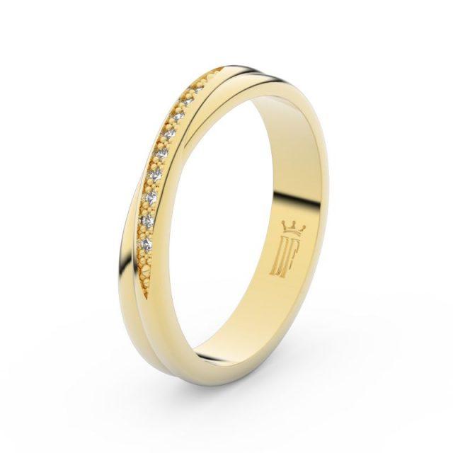 Dámský snubní prsten ze žlutého zlata s diamanty Danfil DF 3019