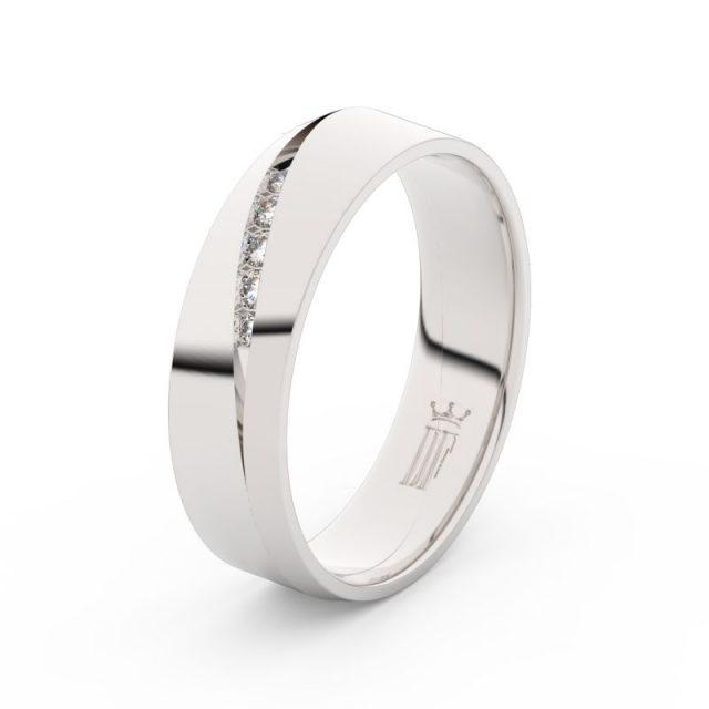 Dámský snubní prsten z bílého zlata s diamanty Danfil DF 3034