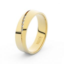 Dámský snubní prsten ze žlutého zlata s diamanty Danfil DF 3034