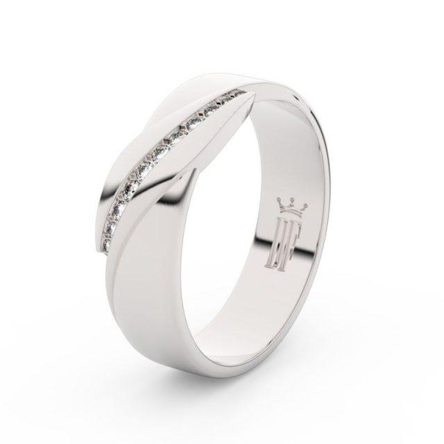 Dámský snubní prsten z bílého zlata s diamanty Danfil DF 3039