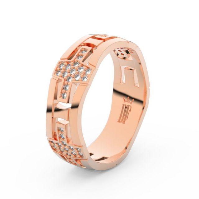 Dámský snubní prsten  z růžového zlata a diamanty, Danfil DF 3042