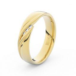 Dámský snubní prsten ze žlutého zlata s diamanty Danfil DF 3044