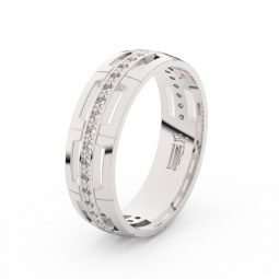 Dámský snubní prsten z bílého zlata s diamanty Danfil DF 3048