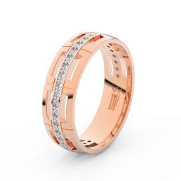 Dámský snubní prsten  z růžového zlata a diamanty, Danfil DF 3048