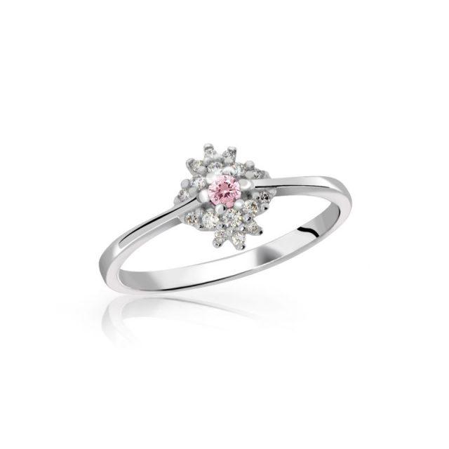 Zásnubní prsten z bílého zlata s růžovým safírem a diamanty, DF 3055