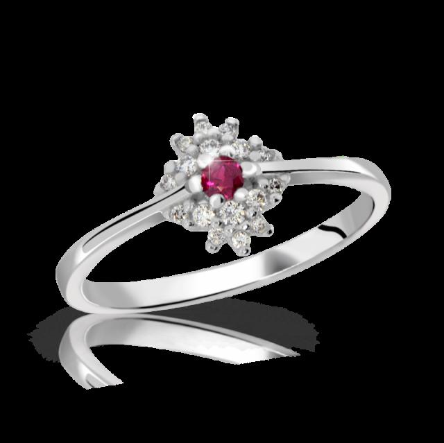 Zásnubní prsten z bílého zlata s rubínem a diamanty, Danfil DF 3055
