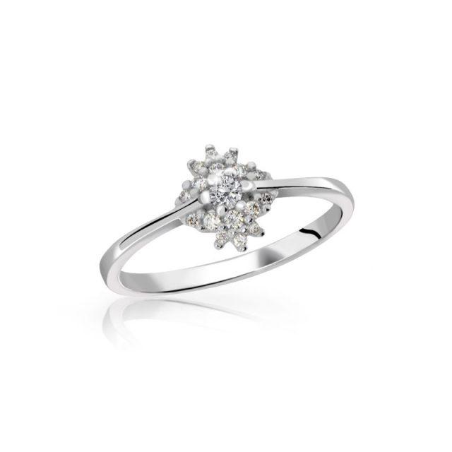 Zásnubní prsten z bílého zlata s briliantem, Danfil DF 3055