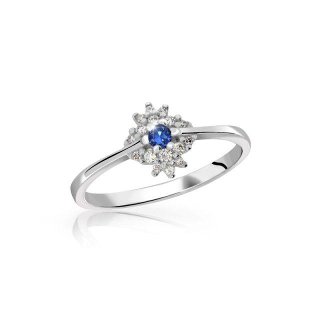 Zásnubní prsten z bílého zlata se safírem a diamanty, Danfil DF 3055