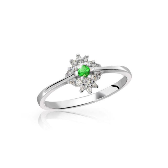 Zásnubní prsten z bílého zlata se smaragdem a diamanty, Danfil DF 3055