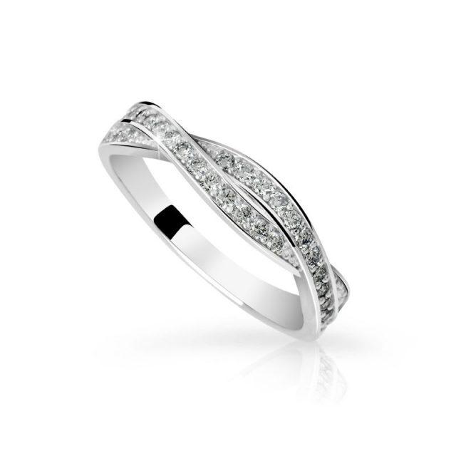 Zásnubní prsten z bílého zlata s diamanty, Danfil DF 3187B