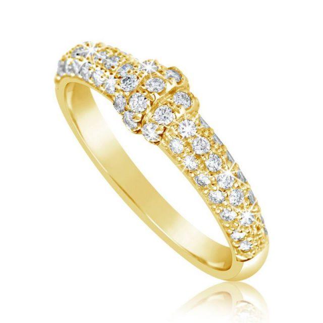 Zásnubní prsten ze žlutého zlata s diamanty, Danfil DF 3190Z
