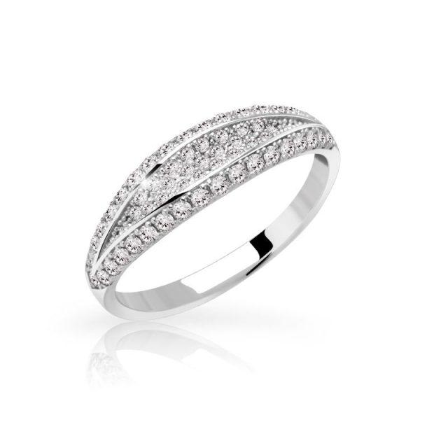 Zásnubní prsten z bílého zlata s diamanty, Danfil DF 3191B