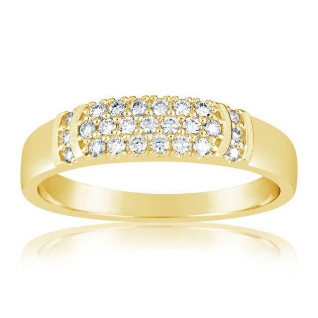 Zásnubní prsten ze žlutého zlata s diamanty, Danfil DF 3192Z