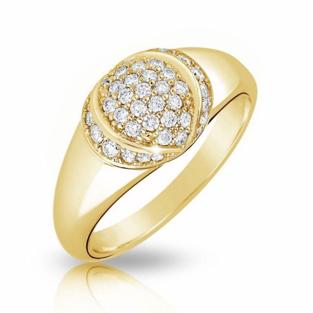 Zásnubní prsten ze žlutého zlata s diamanty, Danfil DF 3193Z