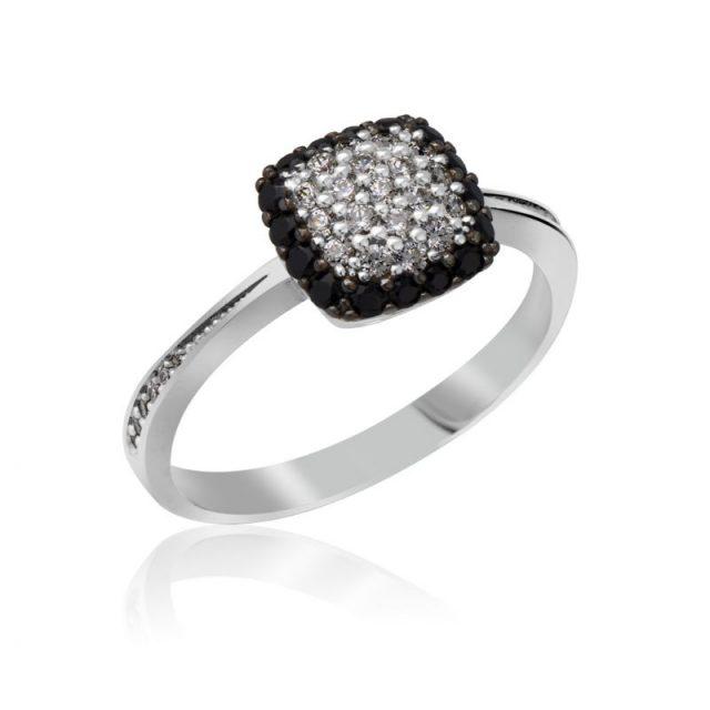 Zásnubní prsten z bílého zlata s diamanty, Danfil DF 3198B