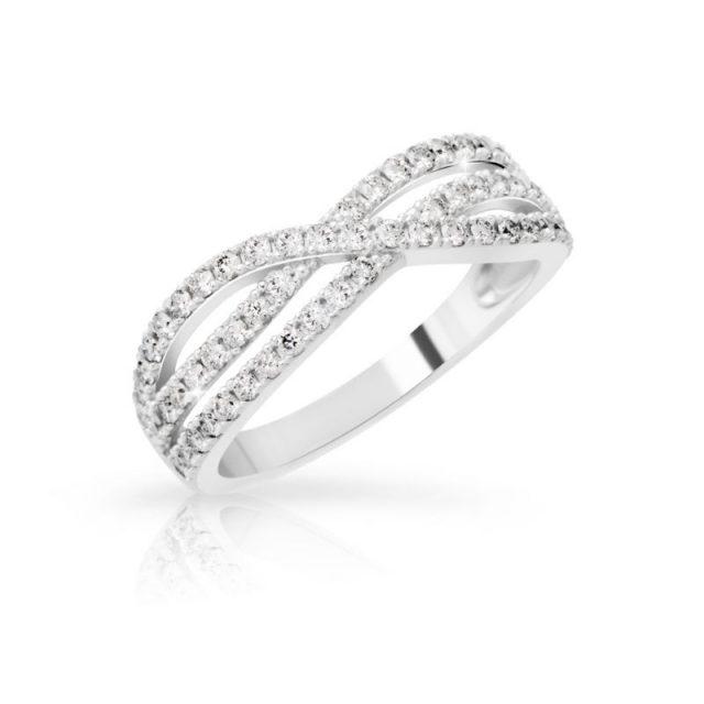 Zásnubní prsten z bílého zlata s diamanty, Danfil DF 3199B
