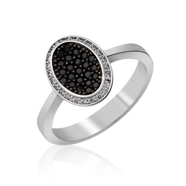 Zásnubní prsten z bílého zlata s černými diamanty Danfil DF 3203B