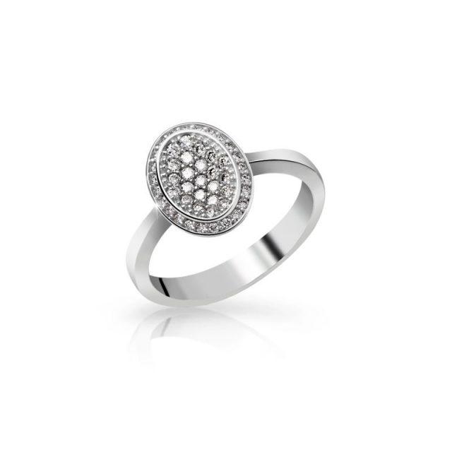 Zásnubní prsten z bílého zlata s brilianty, Danfil DF 3203