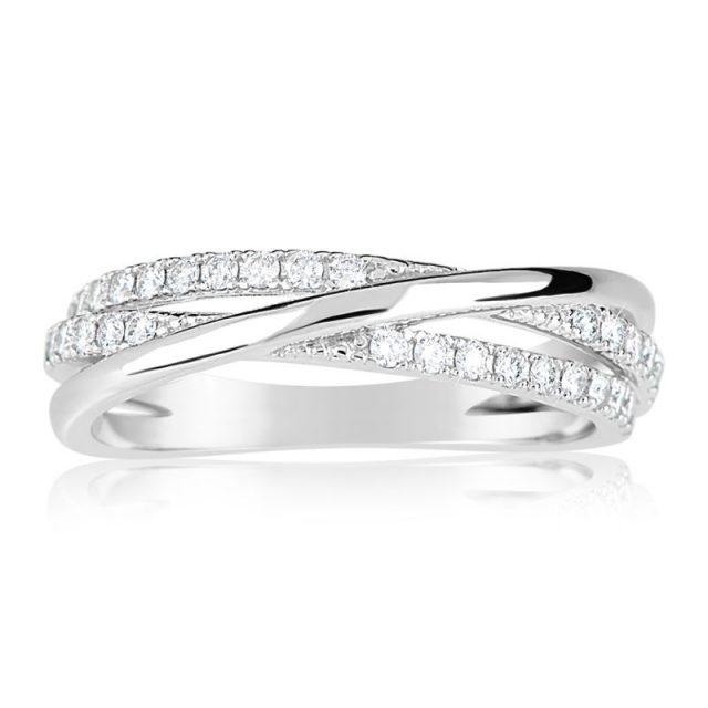 Zásnubní prsten z bílého zlata s diamanty, Danfil DF 3254B
