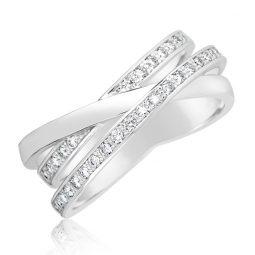 Snubní prsten z bílého zlata s diamanty, Danfil DF 3255B