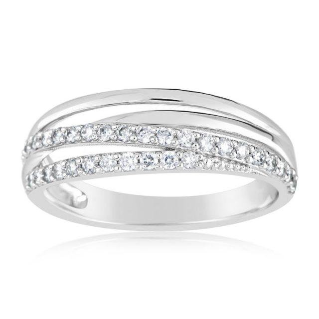 Zásnubní prsten z bílého zlata s diamanty, Danfil DF 3352B