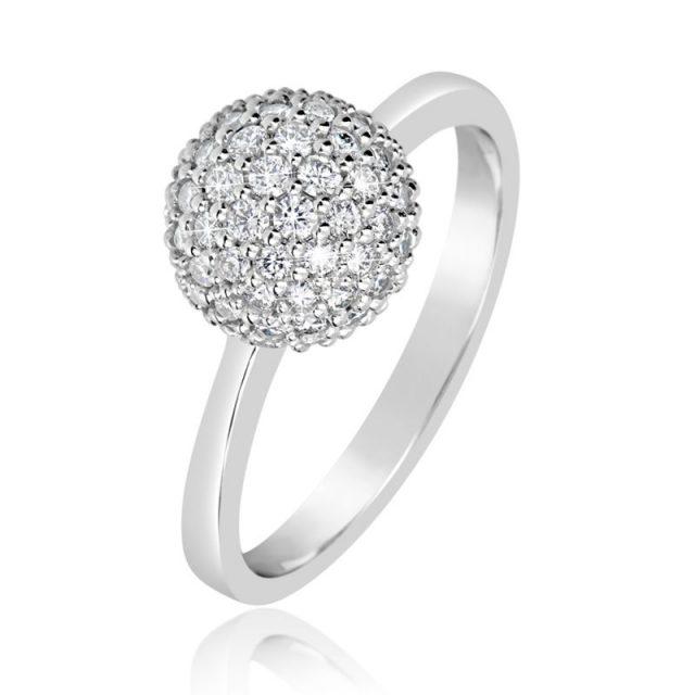 Zásnubní prsten z bílého zlata s diamanty, Danfil DF 3355B