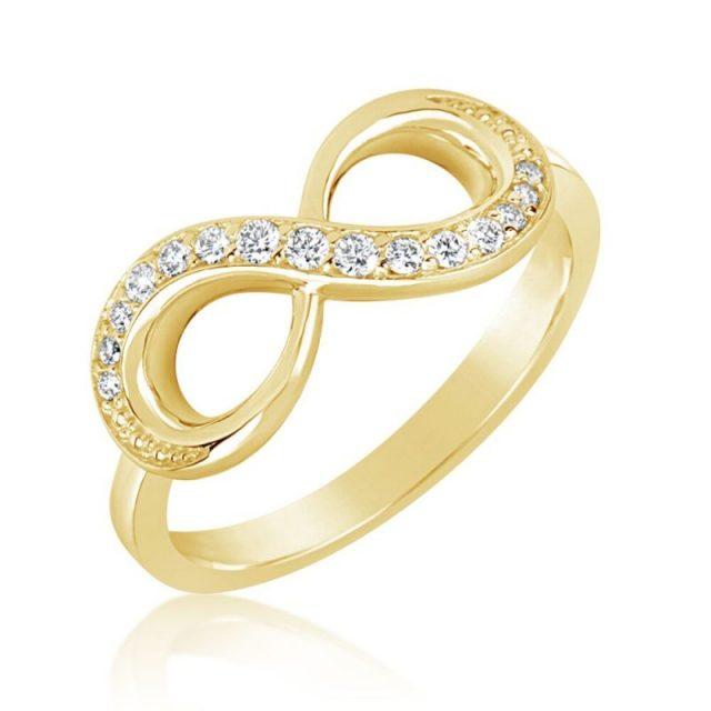 Zásnubní prsten ze žlutého zlata s diamanty Danfil DF3440Z