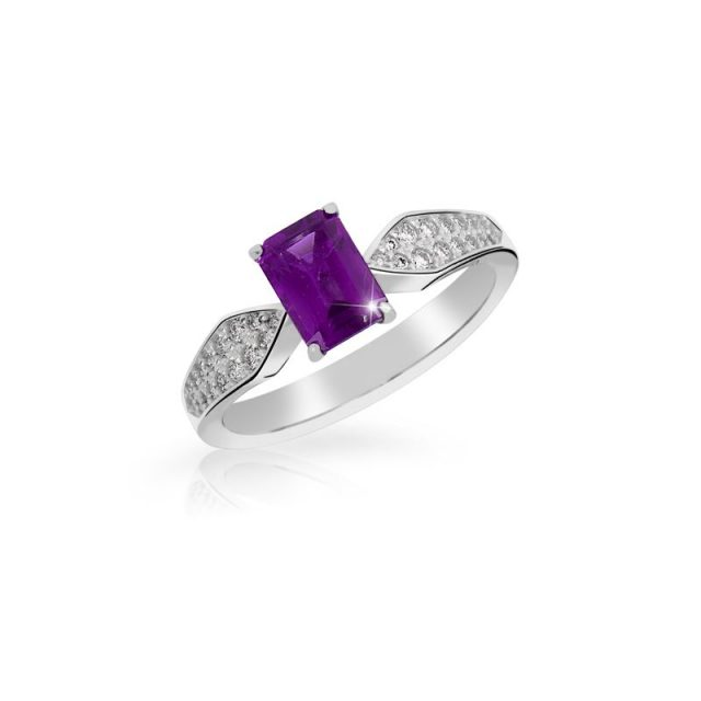Zásnubní prsten z bílého zlata s ametystem a diamanty, Danfil DF 3456