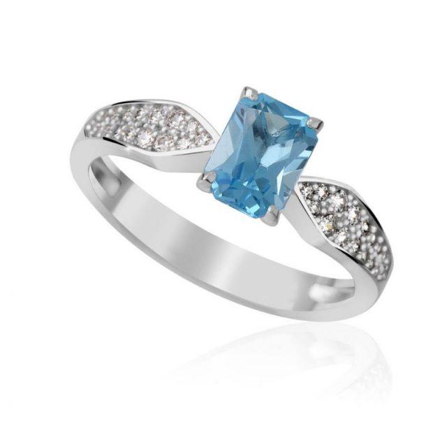 Zásnubní prsten z bílého zlata s diamanty, Danfil DF 3456B