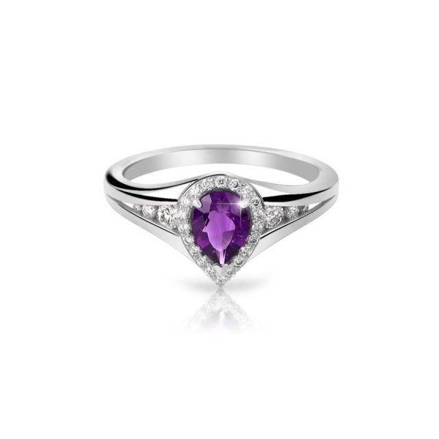 Zásnubní prsten z bílého zlata s ametystem a diamanty, Danfil DF 3459