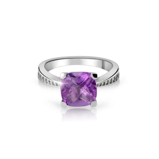 Zásnubní prsten z bílého zlata s ametystem a diamanty, Danfil DF 3487