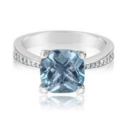 Zásnubní prsten z bílého zlata s diamanty a modrým topazem, Danfil DF 3487