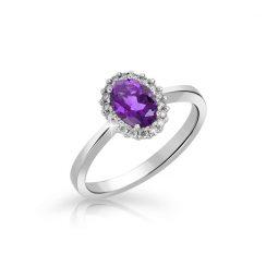Zásnubní prsten z bílého zlata s ametystem a brilianty, Danfil DF 3519