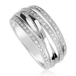 Zásnubní prsten z bílého zlata s diamanty, Danfil DF 3554B