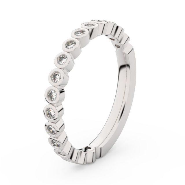Dámský snubní prsten z bílého zlata s diamanty, Danfil DF 3899