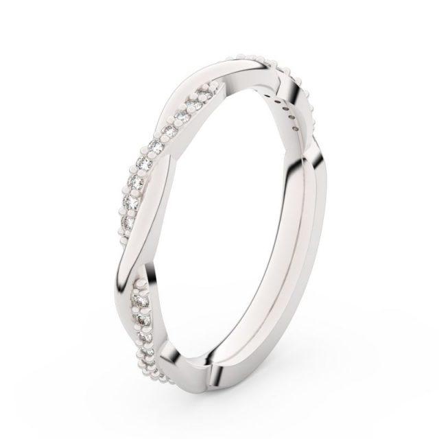 Dámský snubní prsten z bílého zlata s diamanty, Danfil DF 3951