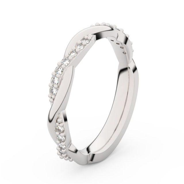 Dámský snubní prsten z bílého zlata s diamanty, Danfil DF 3952
