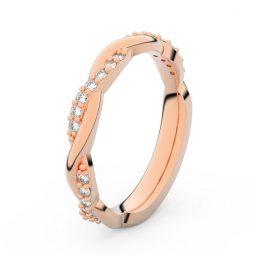 Dámský snubní prsten z růžového zlata s diamanty, Danfil DF 3952