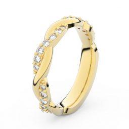 Dámský snubní prsten ze žlutého zlata s diamanty, Danfil DF 3953