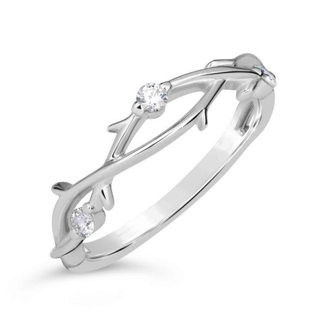 Zásnubní prsten z bílého zlata s brilianty, Danfil DF 4441
